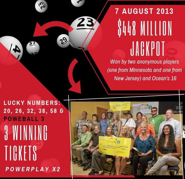 two anonymous players, Ocean's 16 - $448 Million Jackpot - 7 august 2013